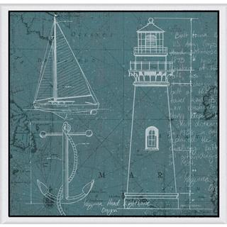 Marco Fabiano 'Coastal Blueprint IV' Framed Canvas Art - Multi