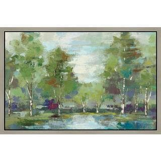 Silvia Vassileva 'Forest at Dawn Crop' Framed Canvas Art