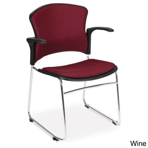 OFM Multi-use Fabric Seat and Back Stackable Arm Chairs (Pack of 40)