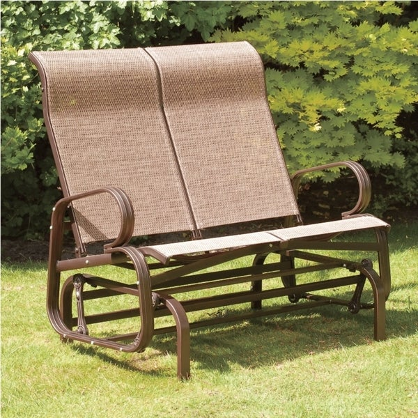 Blazing needles solid all weather outdoor double glider chair cushion