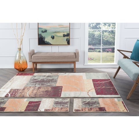 Alise Rugs Decora Contemporary Abstract Three Piece Set - multi - 5' x 7'