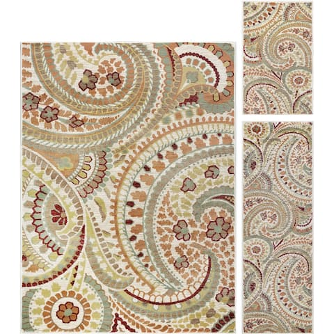 Alise Rugs Decora Transitional Paisley Three Piece Set - 5' x 7'