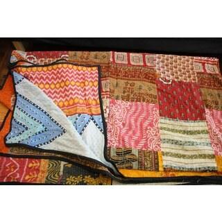 Vintage Handmade Patchwork Kantha Bedspread (India)