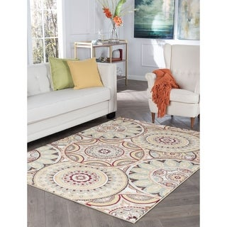 Floral Cross Panel Ivory Multi Rug 7 10 X 10 0 Free