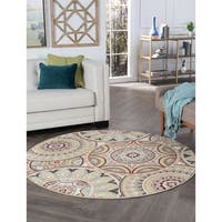 Alise Rugs Decora Transitional Geometric Round Area Rug - multi - 7'10 x 7'10