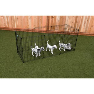 Lucky Dog Black Metal Pet Exercise Pen with Stakes