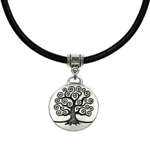Handmade Jewelry by Dawn Unisex Round Pewter Tree Of Life Leather Necklace (USA)