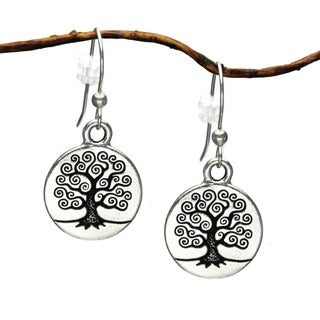 Handmade Jewelry by Dawn Celtic Pewter 'Tree Of Life' Dangle Earrings (USA) - Silver