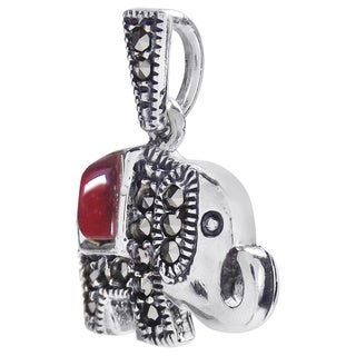 Royal Elephant Stone and Marcasite 925 Silver Pendant (Thailand)