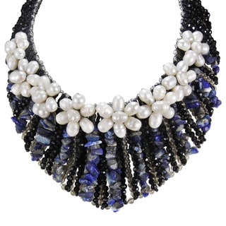 Floral Grandeur Pearl and Lapis Collar Statement Necklace (Thailand)