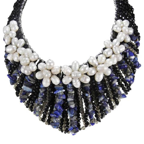 Handmade Floral Grandeur Pearl and Lapis Collar Statement Necklace (Thailand)