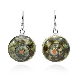 Handmade Hurricane Swirl Genuine Shell .925 Silver Dangle Earrings (Thailand)
