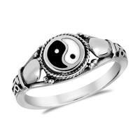 Handmade Timeless Yin and Yang Cobra Symbol Sterling Silver Ring (Thailand)