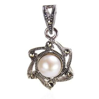 Handmade Vintage Sunny June Pearl Marcasite 925 Silver Pendant (Thailand)