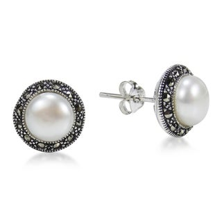 Vintage Pearl Round Marcasite .925 Silver Post Earrings (Thailand)