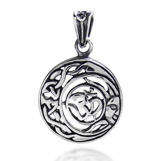 Divine Peace Sun Celtic Ohm Sterling Silver Pendant (Thailand)