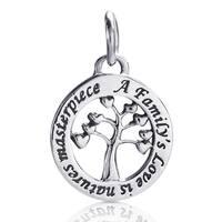 Handmade Blossoming Family's Love Tree .925 Silver Pendant or Charm (Thailand)