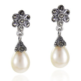 Vintage Teardrop Pearl Floral Marcasite 925 Silver Earrings (Thailand)