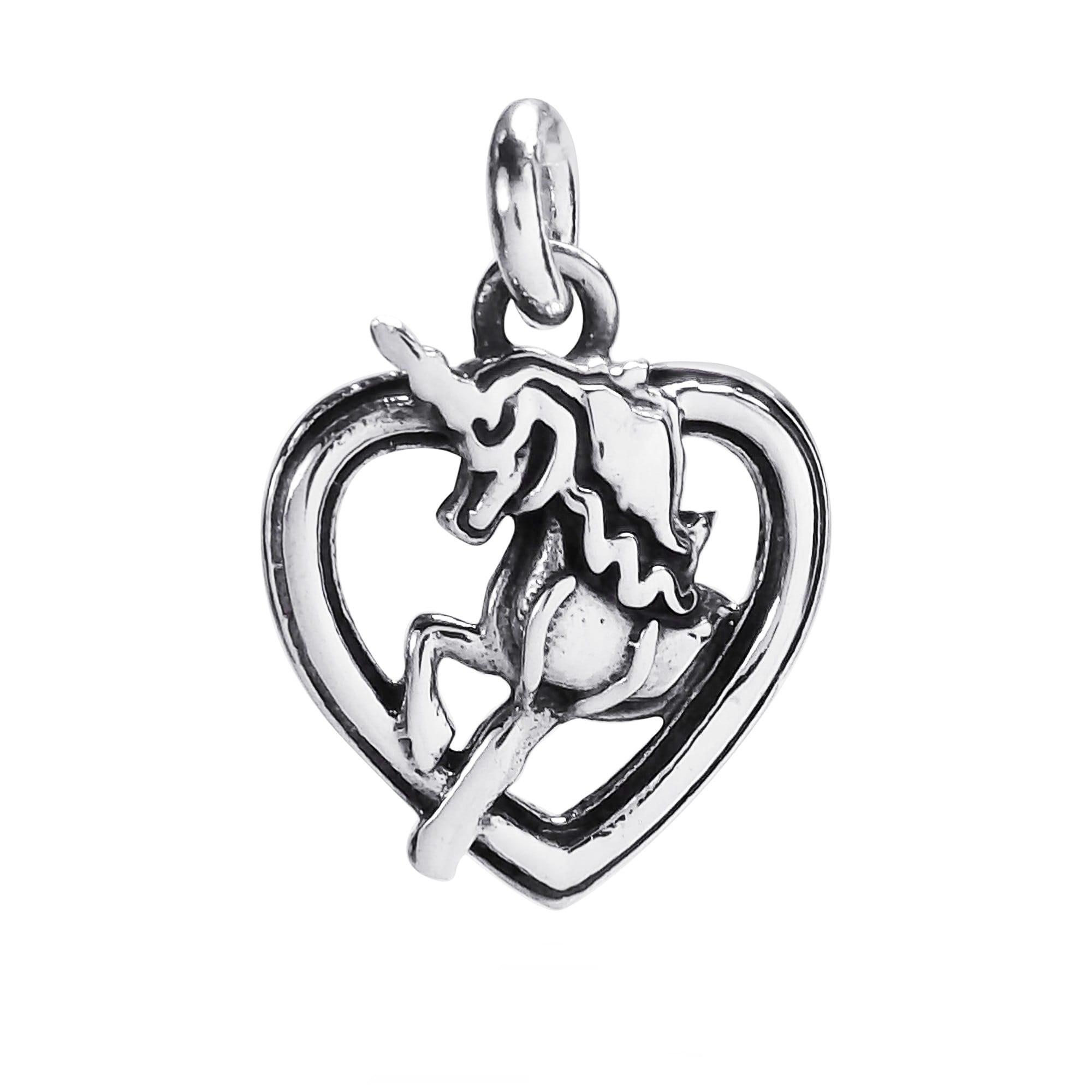 Aeravida Handmade Mini Mythical Unicorn Heart Frame .925 ...