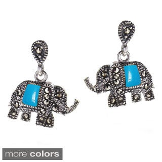 Royal Elephant Stone and Marcasite .925 Silver Earrings (Thailand)