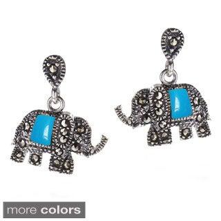 Handmade Royal Elephant Stone and Marcasite .925 Silver Earrings (Thailand)