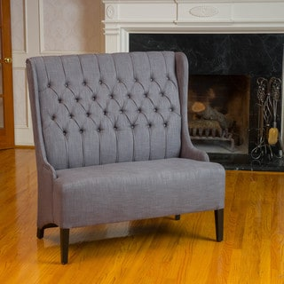 Heidi Button Tufted Charcoal WingBack Loveseat by Christopher Knight Home