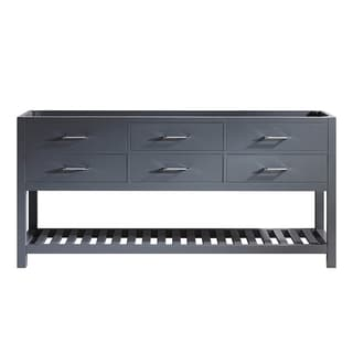 Virtu USA Caroline Estate 72-inch Grey Double Sink Cabinet Only