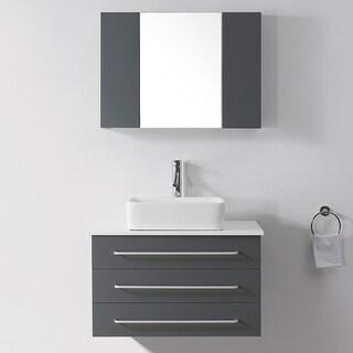Virtu USA Ivy 32-inch Grey Single Sink White Stone Top Vanity Set