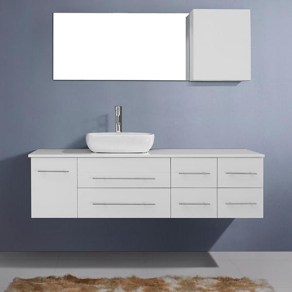 59 Inch Single Sink Bathroom Vanity White