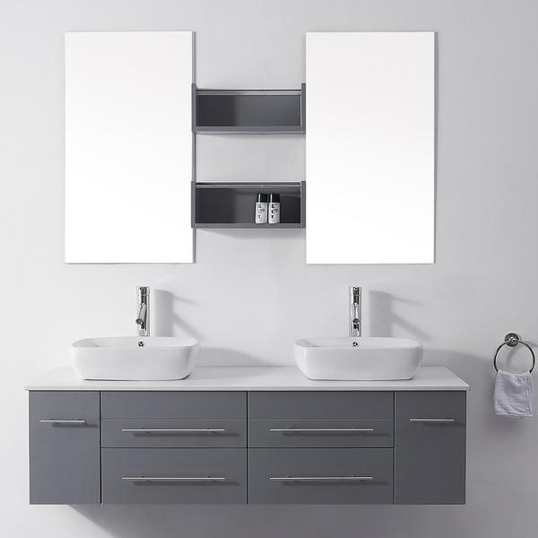 Virtu Usa Augustine 59 Inch Grey Double Sink White Stone Vanity Set Free Shipping Today