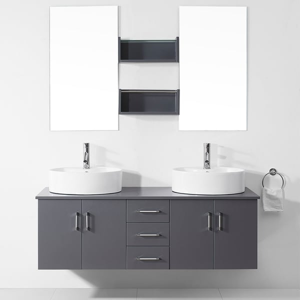 Shop Virtu Usa Enya 59 Inch Grey Double Sink White Vanity Set Free Shipping Today Overstock