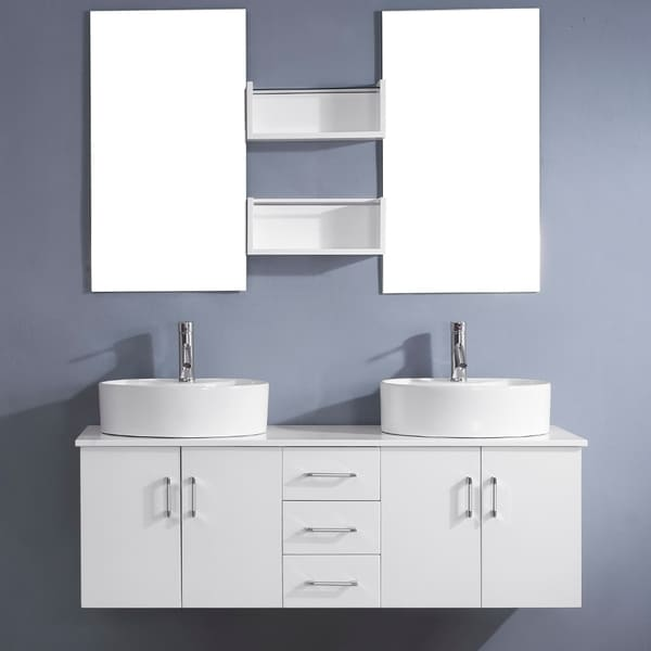 Shop Virtu Usa Enya 59 Inch White Double Sink White Vanity Set Free Shipping Today Overstock