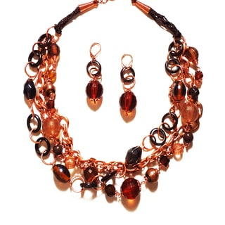 Pavcus Designs Rose Goldtone Beads and Baubles Necklace and Earring Set