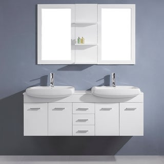 Virtu USA Ophelia 59-inch White Double Sink Stone Vanity Set
