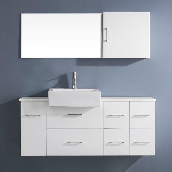 Shop virtu usa enya 55 inch white single sink stone vanity - 55 inch bathroom vanity single sink ...