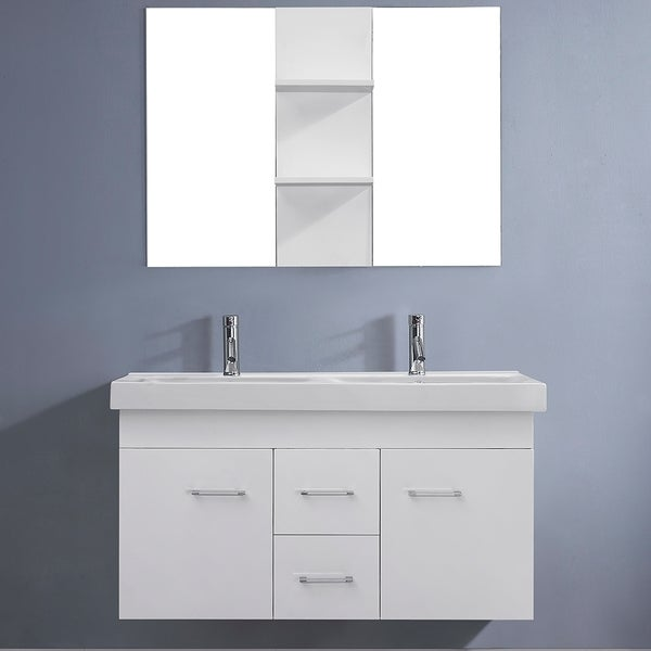 Virtu USA Opal 48-inch White Double Sink Vanity Set - Free Shipping Today - Overstock.com - 16257596
