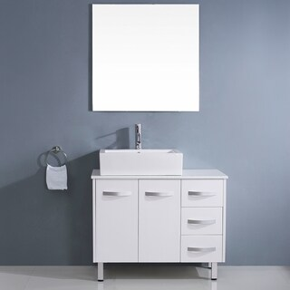 Virtu USA Tilda 36-inch White Single Sink White Stone Vanity Set
