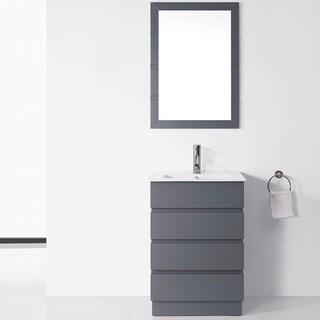 Virtu USA Bruno 24-inch Grey Single Sink Vanity Set