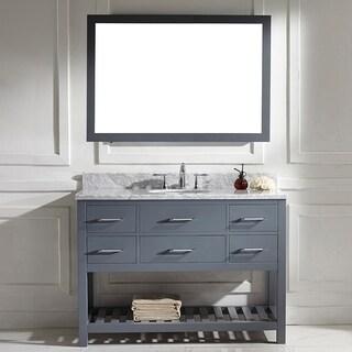 Shop Virtu Usa Caroline Estate 48 Inch Grey Round Single Sink Italian White Carrara Marble