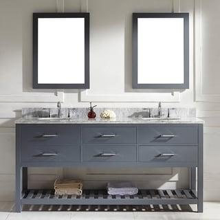 Virtu USA Caroline Estate 72-inch Grey Round Double Sink Italian White Carrara Marble Vanity Set