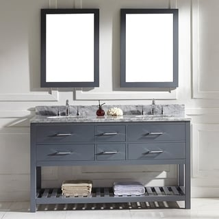 Virtu USA Caroline Estate 60-inch Grey Round Double Sink Italian White Carrara Marble Vanity Set