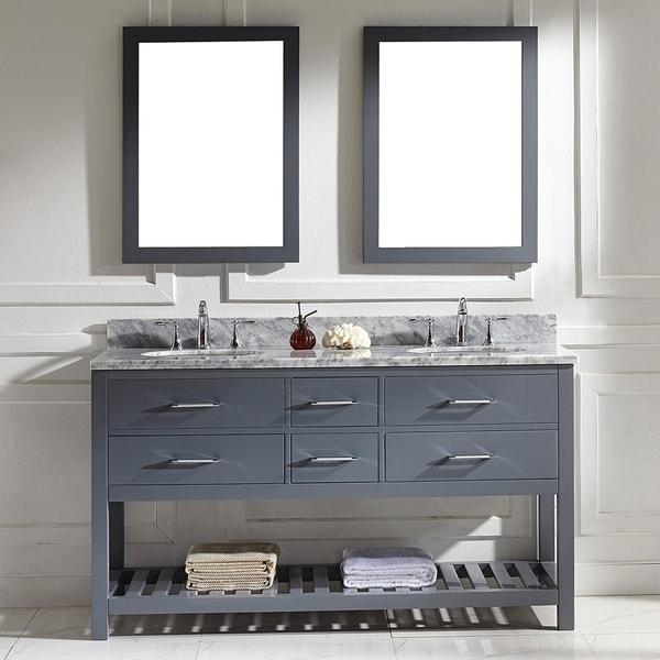 Virtu Usa Caroline Estate 60 Inch Grey Round Double Sink Italian White Carrara Marble Vanity Set