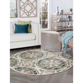 Alise Decora Ivory Transitional Area Rug (5' 3 Round)