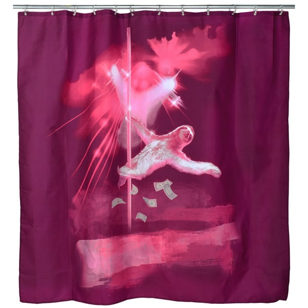 Pink 39 dancing sloth 39 shower curtain free shipping on for Sloth kong shower curtain