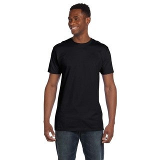 Hanes Men's Black Ringspun Cotton Nano-T Undershirts (Pack of 9)