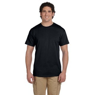 Fruit Of The Loom Men's Black Heavy Cotton HD Undershirts (Pack of 6)