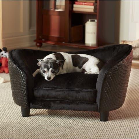 Enchanted Home Pet Ultra Plush Small Black Basketweave Pet Sofa Bed