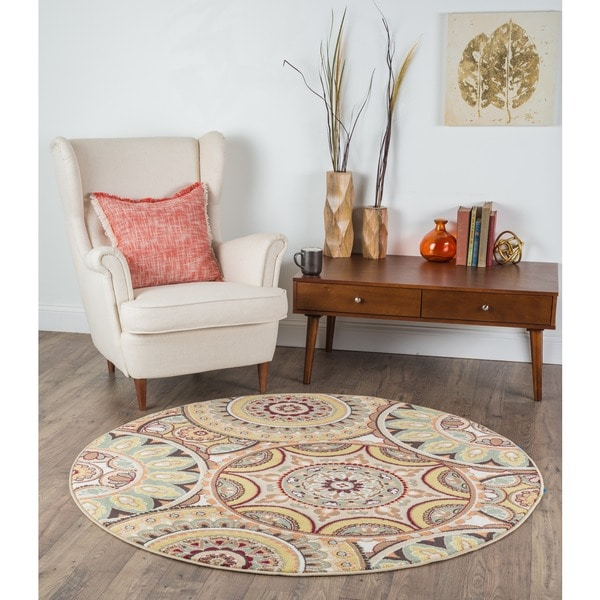 Alise Decora Ivory Transitional Area Rug (7'10 Round)