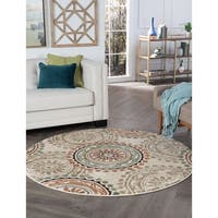 Alise Rugs Decora Transitional Geometric Round Area Rug - 7'10 x 7'10
