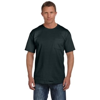 Fruit of the Loom Men's 100-percent Black Heavy Cotton HD Pocket Undershirt (Pack of 6)
